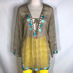 Letarte size S sheer embroidered beach coverup